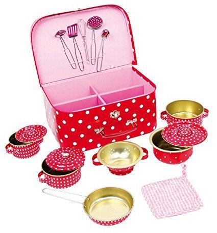 Legler 2020978 5306 walizka piknikowa w kropki, 13-częściowa