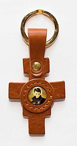 """Adriatica Pelletteria breloczek do kluczy ze skórzanym krzyżem Damian, obraz z żywicy""""San Gabriele"""", 3 sztuki, żółty,"""
