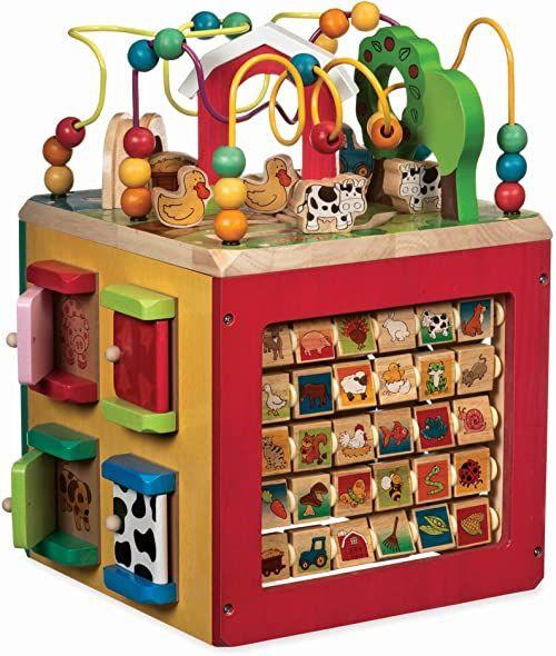 Battat BT2599Z kostka motoryczna, kostka motoryczna, gospodarstwo rolne, zabawka edukacyjna, również do przedszkola, z drewna, dla dzieci od 1 roku życia