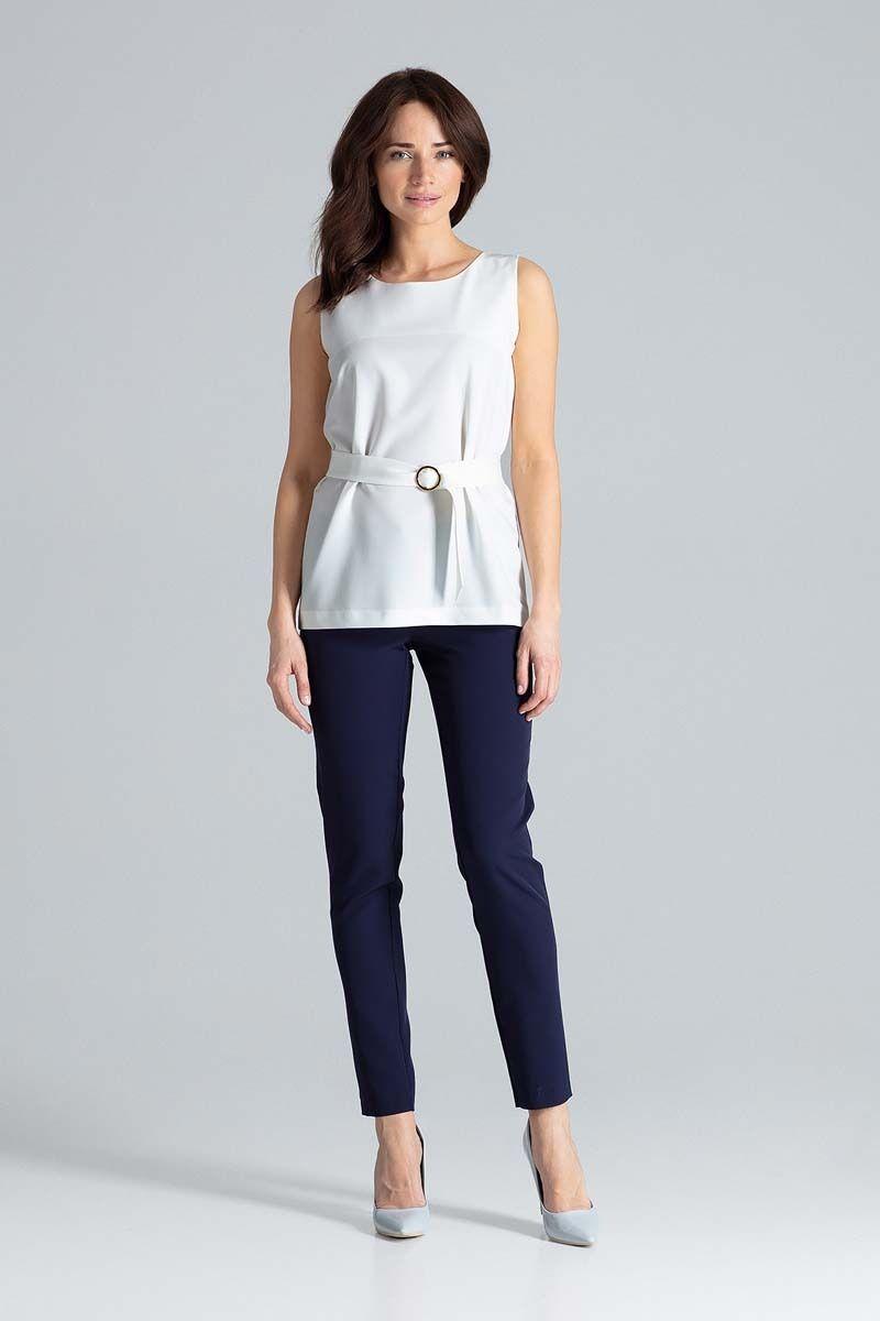 Ecru bluzka trapezowa z paskiem