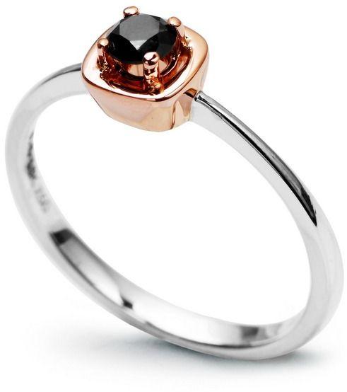 Staviori pierścionek zaręczynowy z czarnym diamentem, szlif brylantowy, masa 0,25 ct.. białe, różowe złoto 0,750.