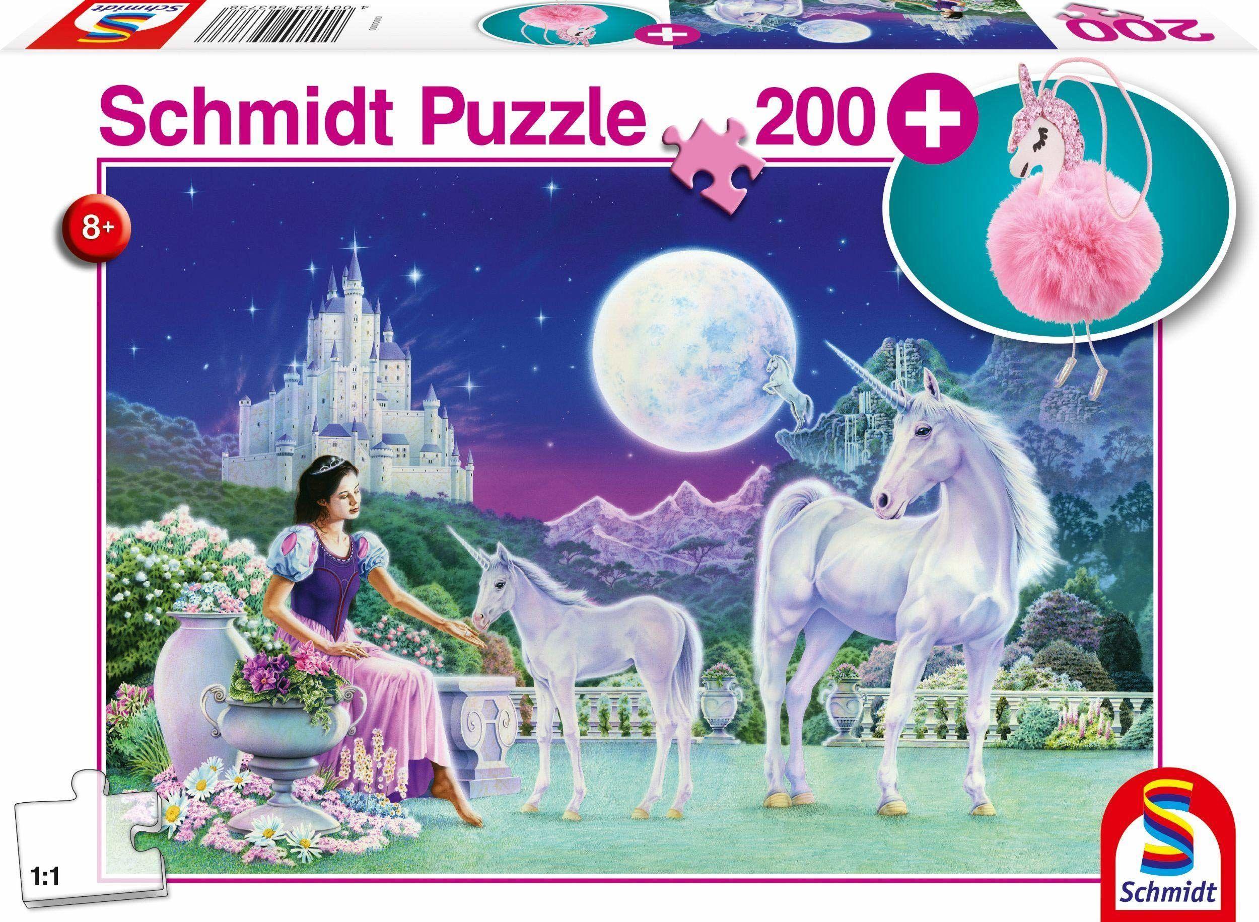 Schmidt Spiele 56373 jednorożec, 200 części dziecięce puzzle, z zawieszką