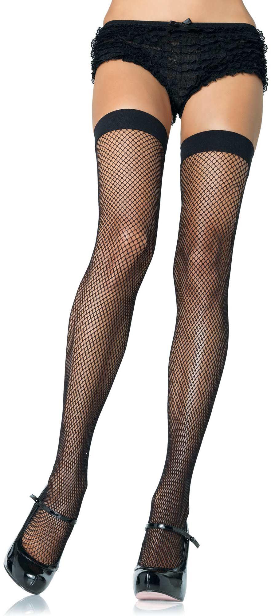 Leg Avenue Nylon Fishnet Thigh Highs 9011 Black