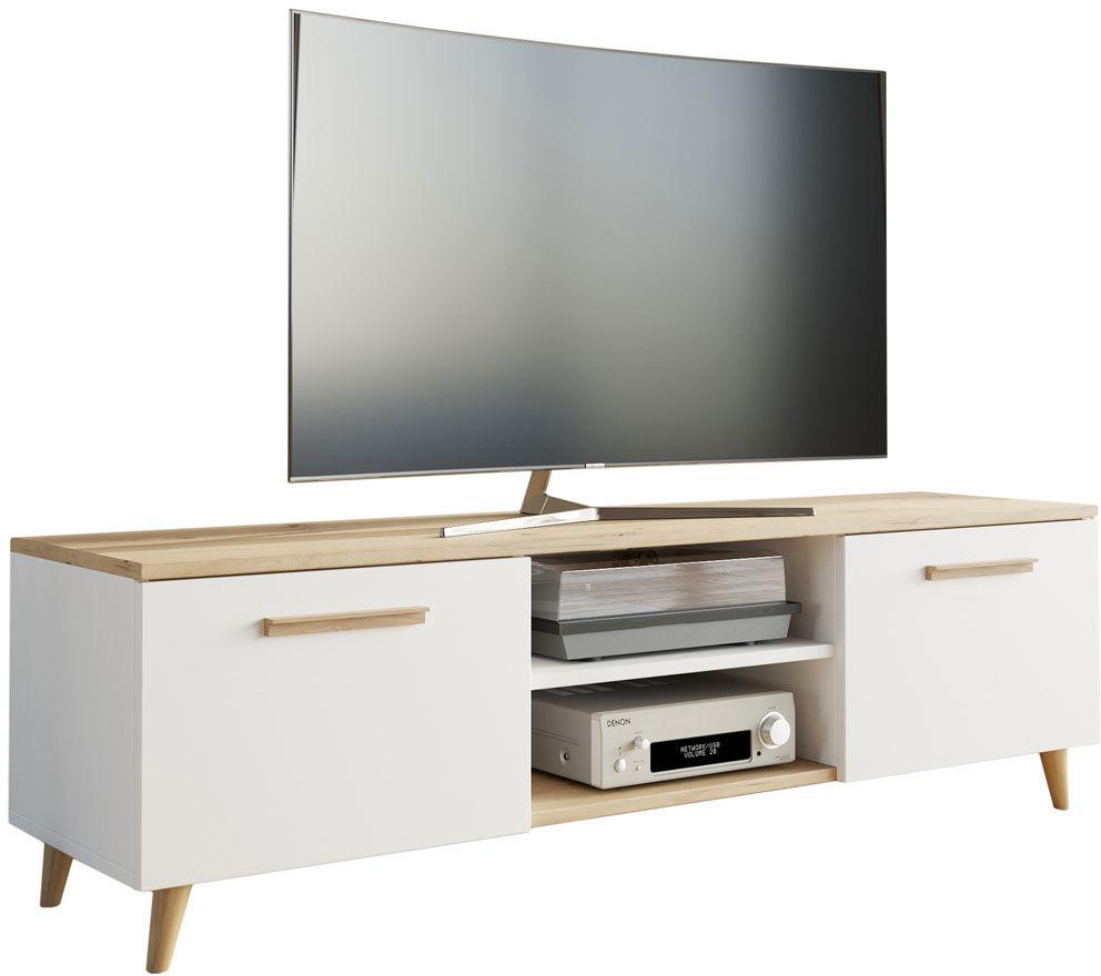Biała skandynawska szafka RTV do salonu - Pura 2S