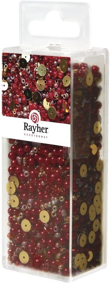 Rayher 14538287 mieszanka cekinów/koralików szklanych, klasyczna czerwień, 80 g i 50 m drut o średnicy 0,3 mm, koraliki do majsterkowania, koraliki Rocailles, cekiny, perły woskowane, drut nawlekany