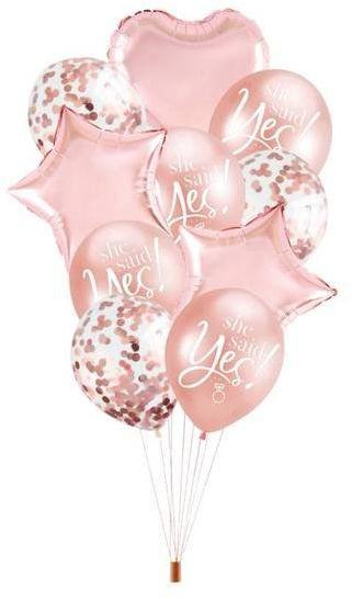 Zestaw balonów na Wieczór Panieński She Said Yes różowe złoto 10 sztuk 460406
