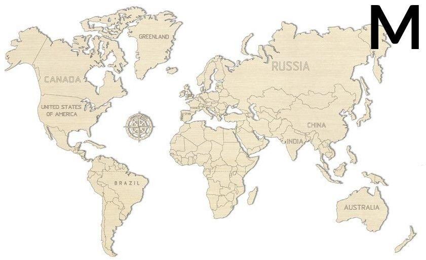 Wooden City Wooden City Puzzle 3D Mapa świata rozmiar M kolor naturalny 5_710354