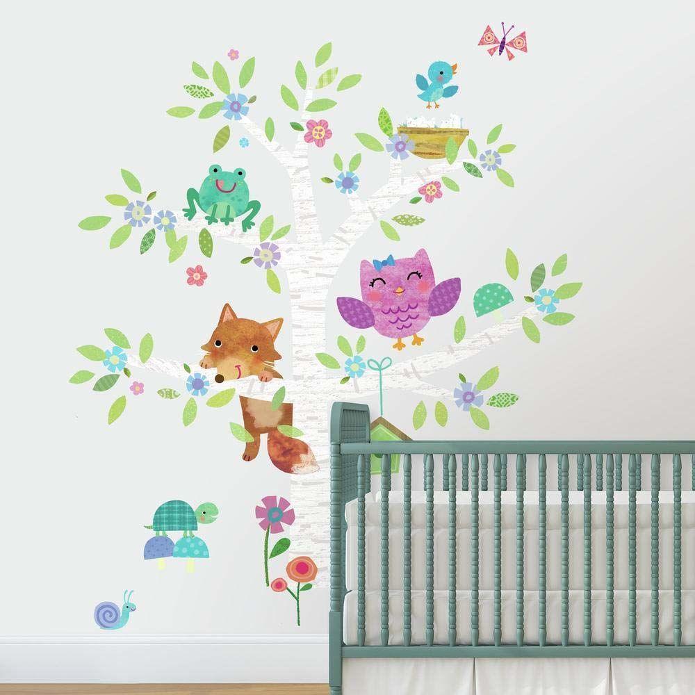 RoomMates Leśne zwierzęta niemowlęce i brzoza olbrzoza olbrzoza naklejki ścienne