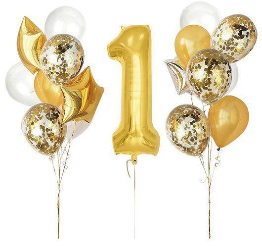 Zestaw balonów na Roczek złoty 16 sztuk 460428
