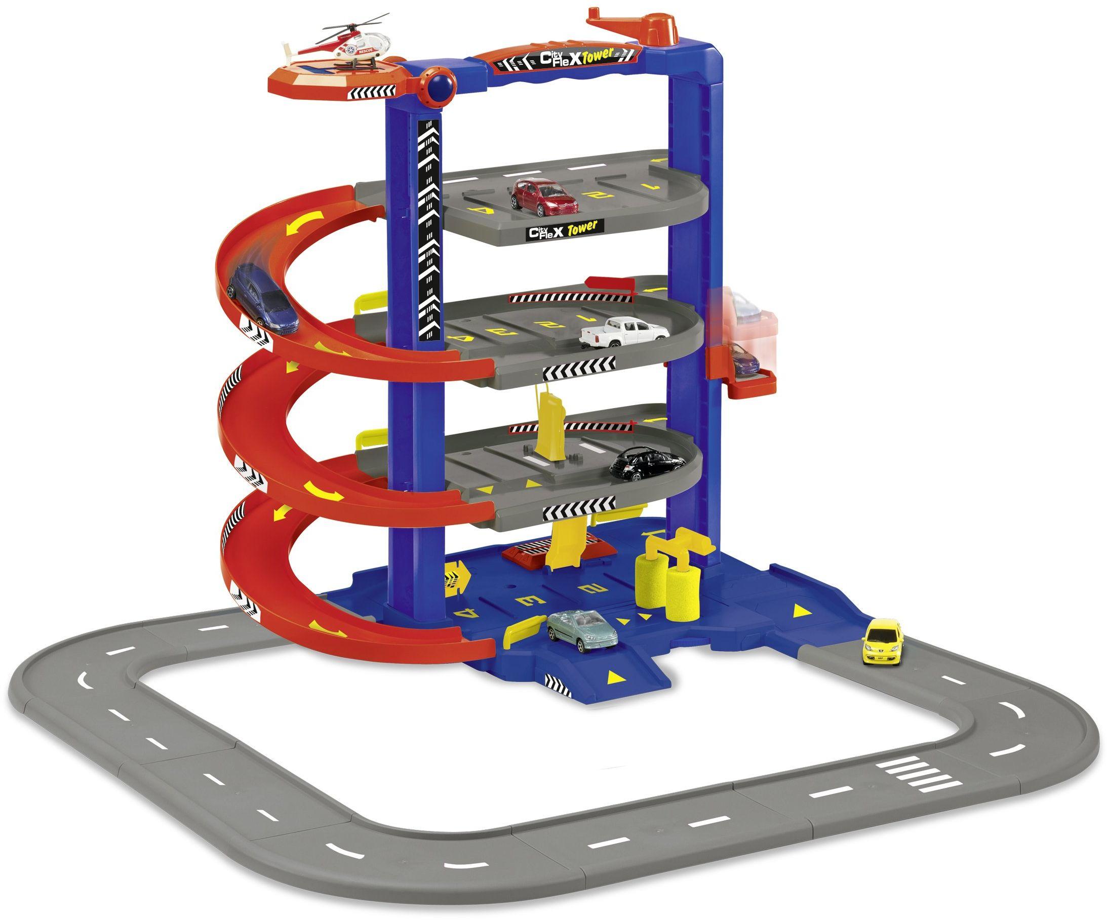Majorette 212058390 - City Flex Tower z 1 samochodem, 70 x 71 x 53, czerwony/niebieski/szary