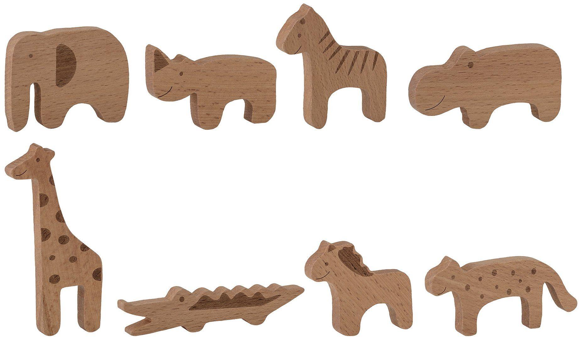 Bloomingville Mini Bianca 8-częściowy zestaw zabawek z drewna bukowego w kolorze naturalnym  10 x 10 x 1 cm (dł./wys./szer.)