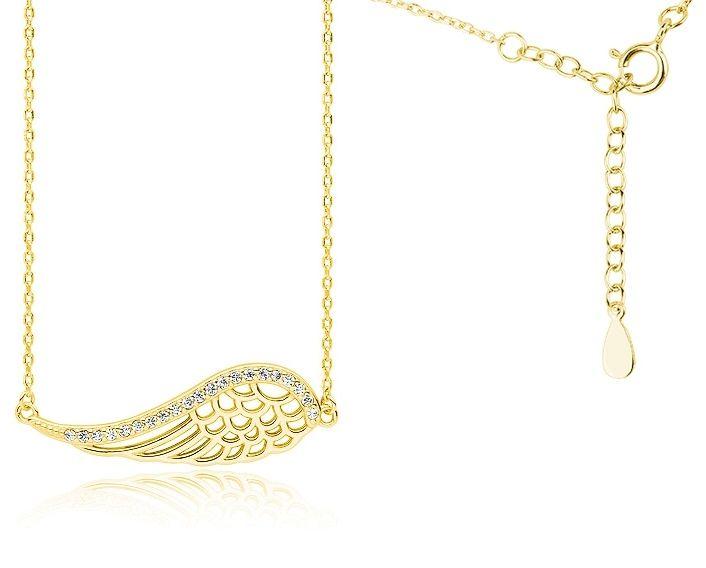Pozłacany srebrny naszyjnik gwiazd celebrytka skrzydło anioła wings cyrkonie srebro 925 Z1606N_G