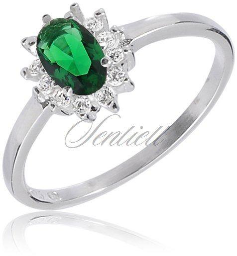 Srebrny pierścionek pr.925 z cyrkoniami biała i zielona