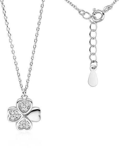Rodowany srebrny naszyjnik gwiazd celebrytka koniczynka lucky białe cyrkonie srebro 925 Z1725N
