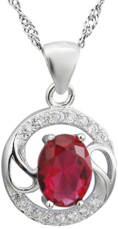 Srebrna Zawieszka z Rubinowym Kamieniem