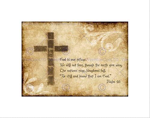 Wee Blue Coo Psalm 46 ''God Our Refuge'' krzyż chrześcijański religijny cytat sztuka ścienna wydruk