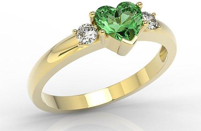 Pierścionek z żółtego złota z zielonym topazem w kształcie serca i cyrkoniami jp-90z-c
