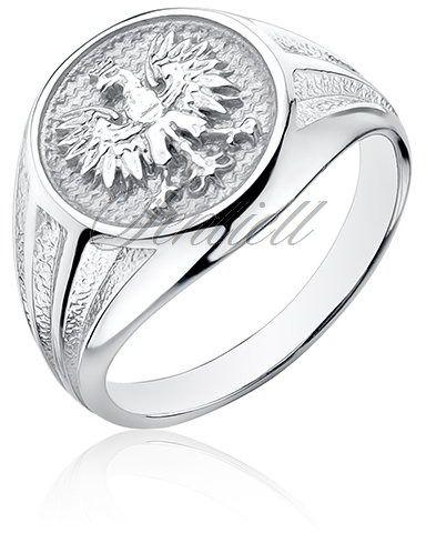 Srebrny sygnet pr.925 - orzeł w koronie - polski znak narodowy