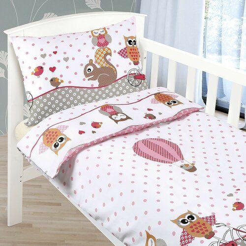 Dziecięca pościel bawełniana do łóżeczka Agáta Sówka różowy, 90 x 135 cm, 45 x 60 cm