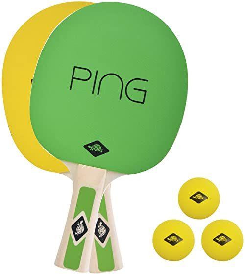 Donic-Schildkröt Zestaw do tenisa stołowego Ping Pong, 2 rakiety z zielono-żółtymi okładzinami, 3 żółte piłki, w torbie transportowej, 788486