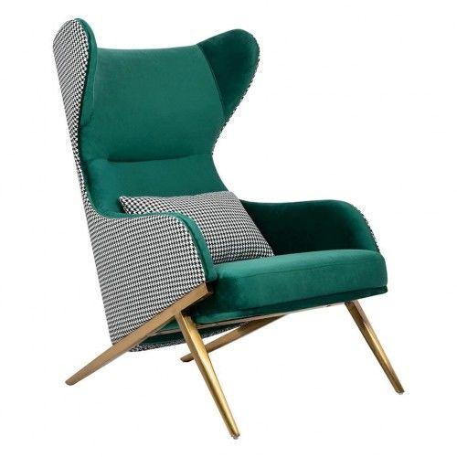 Fotel Hampton zielony pepitka
