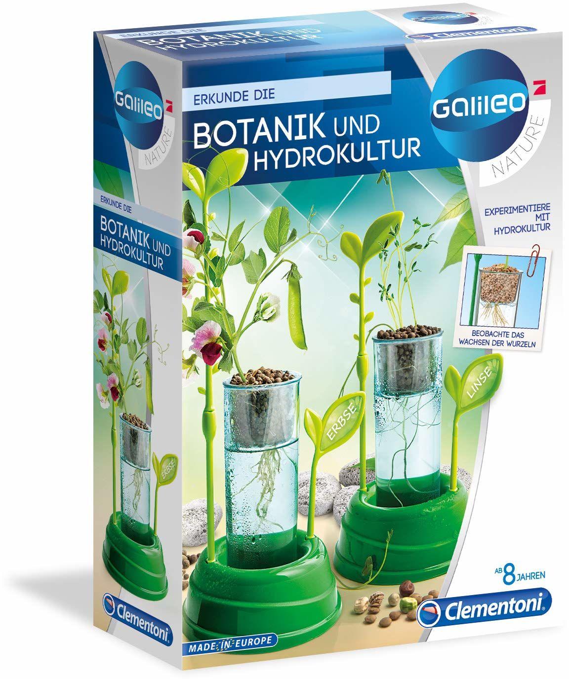 Clementoni 59065 Galileo Nature  botanika i hydrokultura, skrzynka na rośliny i nasiona dla mini ogrodników, zabawka dla dzieci od 8 lat, ekscytująca szklarnia do domu