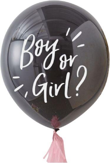 Balon na Baby Shower Boy or Girl z różowym konfetti 1 sztuka 400087