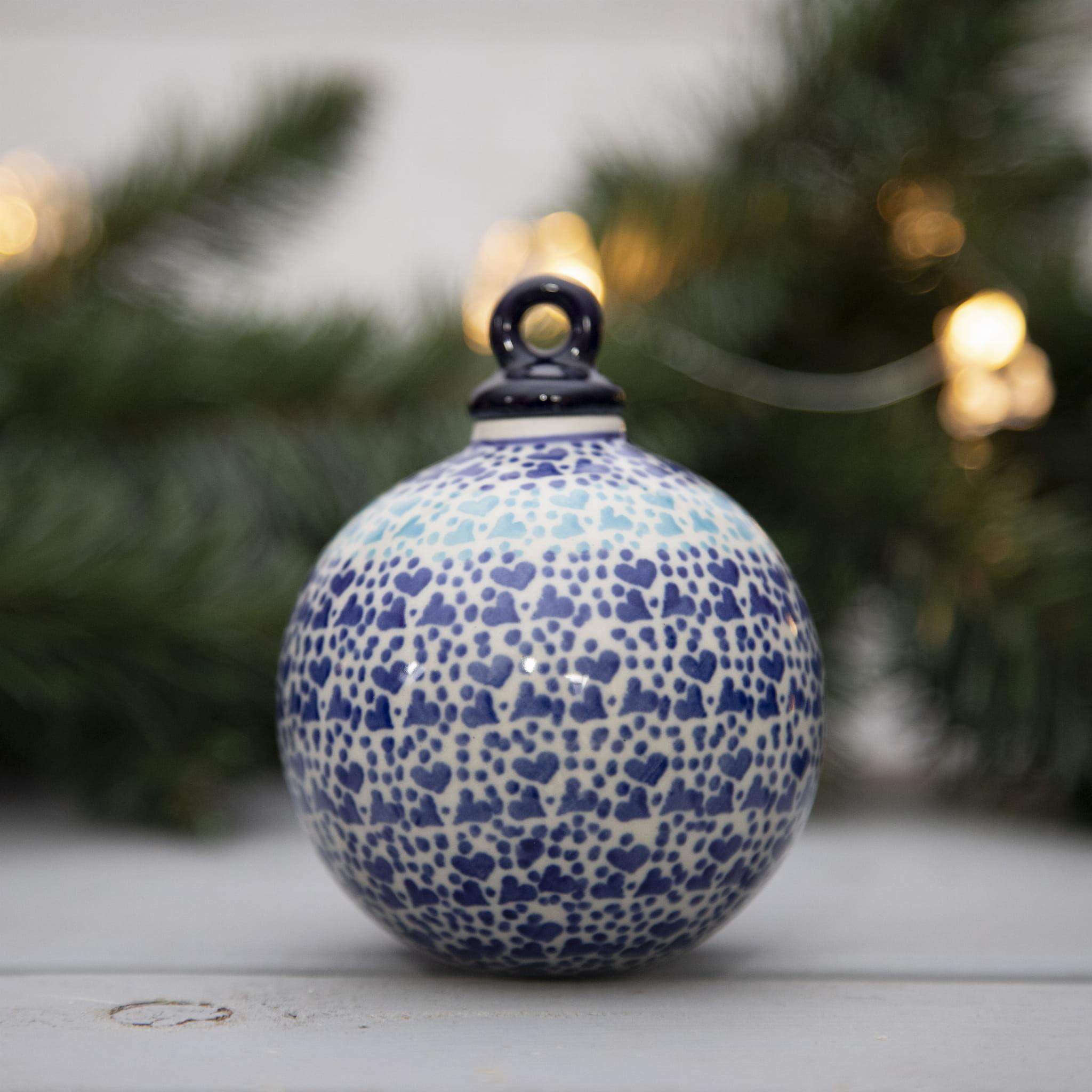 Bombka okrągła mała, ozdoba świąteczna, Bolesławiec