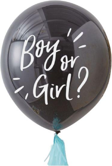 Balon na Baby Shower Boy or Girl z niebieskim konfetti 1 sztuka 400895