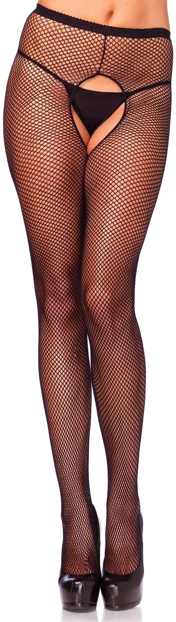 Leg Avenue Crotchless Fishnet Pantyhose 1404 Black S/M/L
