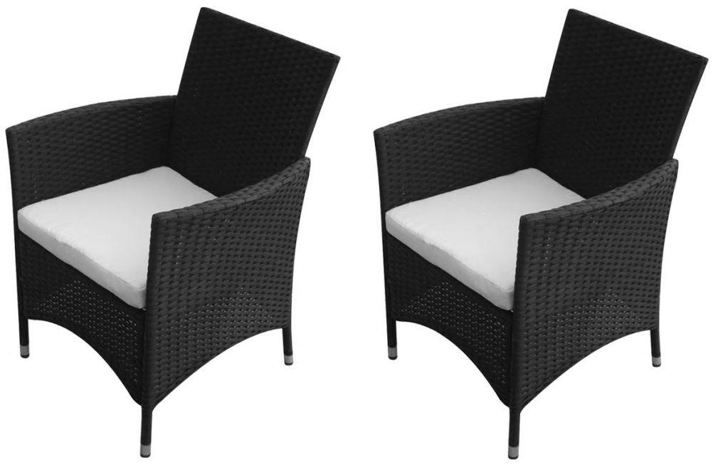 Komplet czarnych krzeseł ogrodowych - Galippe