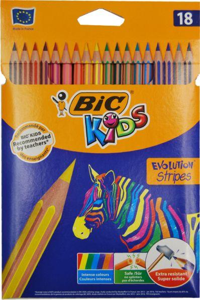 Kredki ołówkowe Bic Evolution Stripes 18k 99126