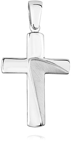 Elegancki rodowany srebrny polerowany satynowany gładki krzyżyk krzyż srebro 925 KS0170