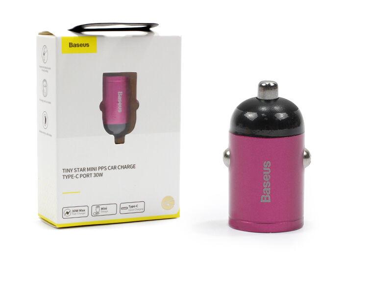 Ładowarka samochodowa Baseus Tiny Star Mini PPS 30W z USB-C oraz Quick Charge 3.0 i PD 3.0 - różowy