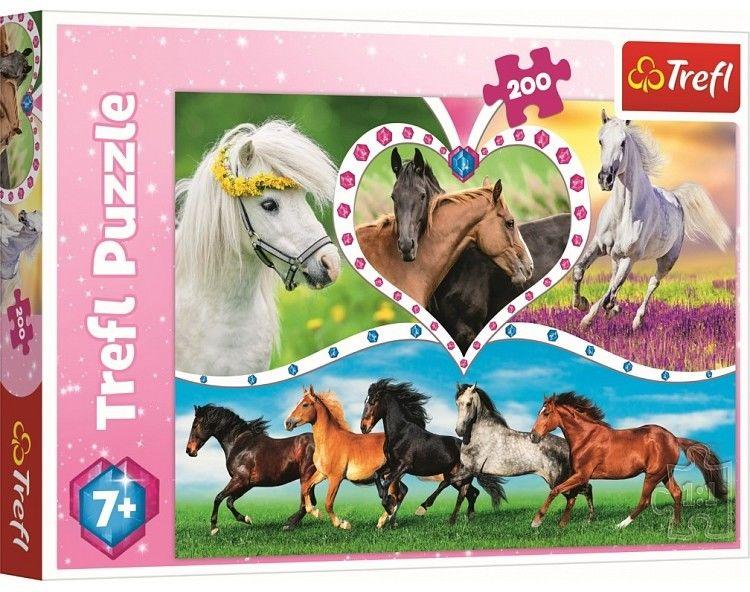 Puzzle Trefl 200 - Piękne konie, Beautiful horses