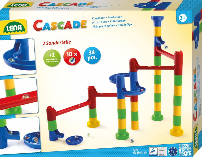Lena 65289 Cascade torbaza kulowa, murmowa do montażu, moduł z 32 elementami kolejowymi, 2 części krzywych i 10 szklanych murmów, motoryka i zabawka konstrukcyjna dla dzieci od 3 lat, kolorowa
