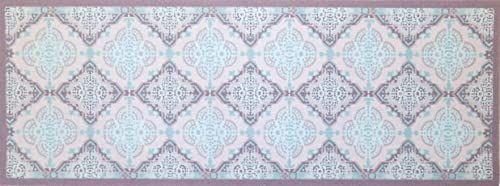 """oKu-Tex Wycieraczka mata zatrzymująca brud wzór mozaikowy retro """"Deco-Style"""" wycieraczka do drzwi wewnątrz antypoślizgowa, szara/jasnoniebieska 45 x 75 cm"""