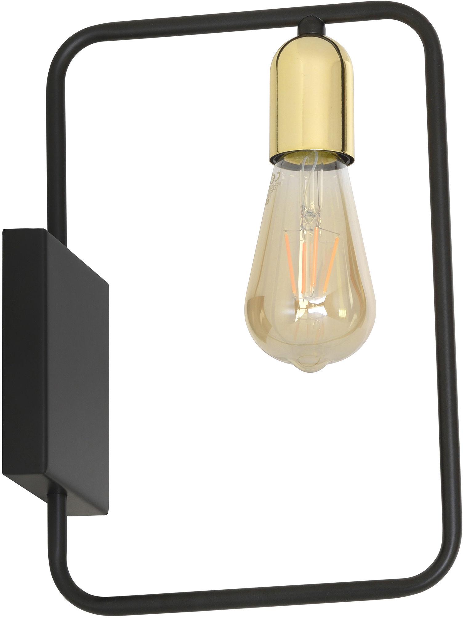 Emibig SAVO K1 BLACK 353/K1 kinkiet lampa ścienna loftowy czarno złoty metal rama 1x60W E27 28cm