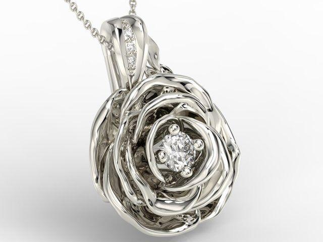 Wisiorek z białego złota w kształcie róży z diamentami apw-95b