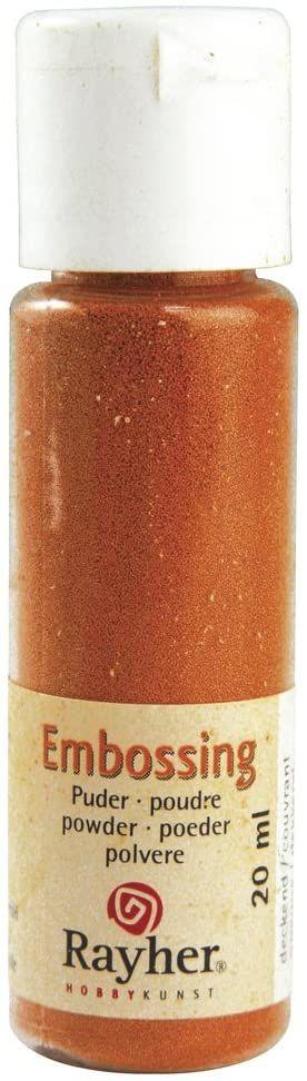 RAYHER 28000210, puder do embossingu, butelka 20 ml, kryjący, pomarańczowy