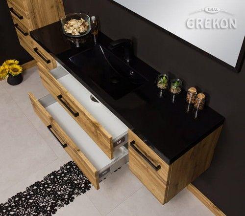Szafka łazienkowa kolor dąb 140cm BEZ umywalki, Styl Loftowy, Gante Fokus Loft