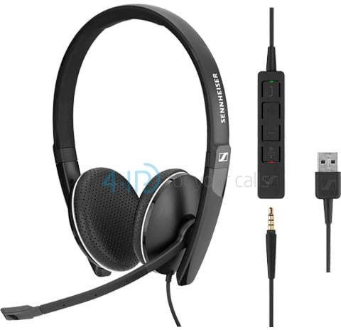 Sennheiser SC 165 USB słuchawka z mikrofonem do PC i telefonu komórkowego (złącze USB-A / jack 3.5mm)