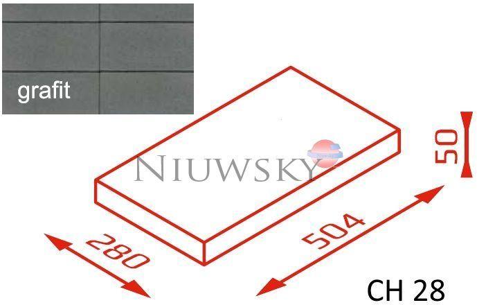 Daszek na murek CH28 50,4x28x5 grafit / Joniec