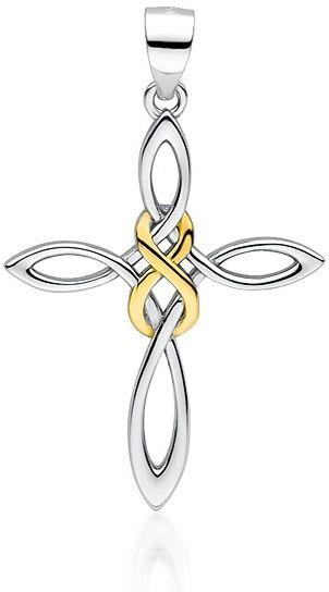 Rodowany srebrny krzyżyk krzyż pozłacana nieskończoność infinity srebro 925 Z1715CGR