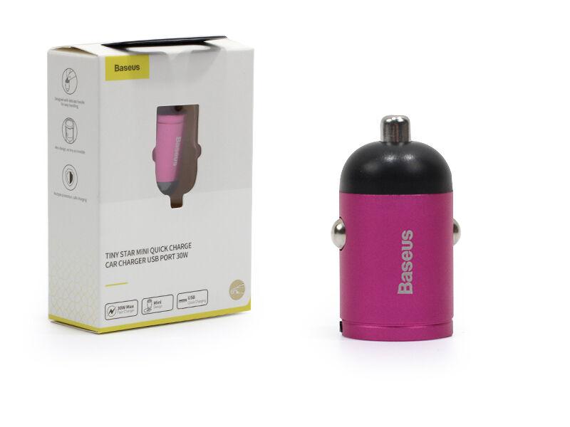 Ładowarka samochodowa Baseus Tiny Star Mini PPS 30W z USB oraz Quick Charge 3.0 i PD 3.0 - różowy