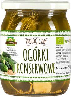 Ogórki konserwowe na occie jabłkowym bio 500 g 275 g - farma świętokrzyska