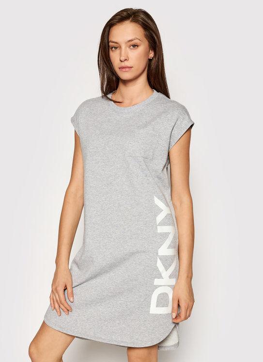 DKNY Sukienka dzianinowa P0RD1B2J Szary Regular Fit