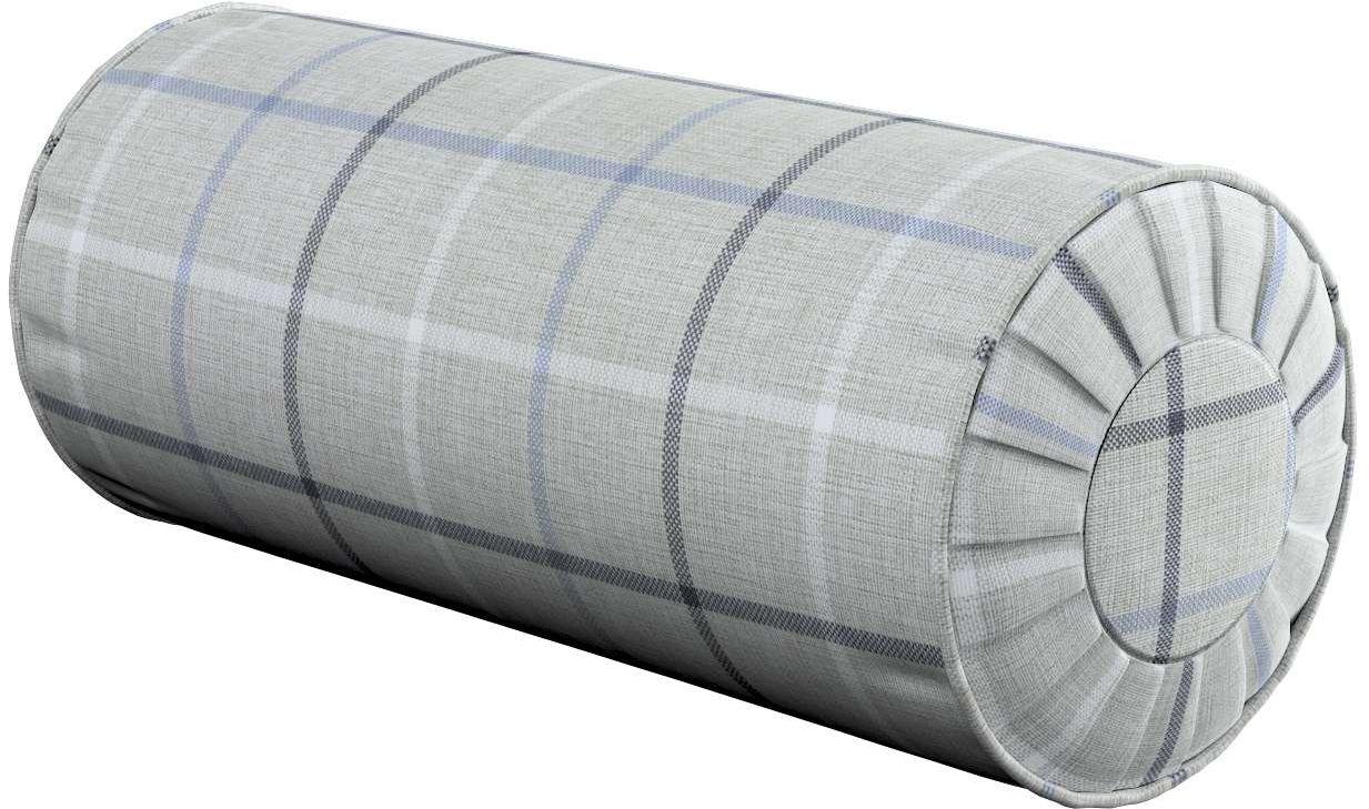 Poduszka wałek z zakładkami, błękitno - szara krata, Ø20  50 cm, Edinburgh