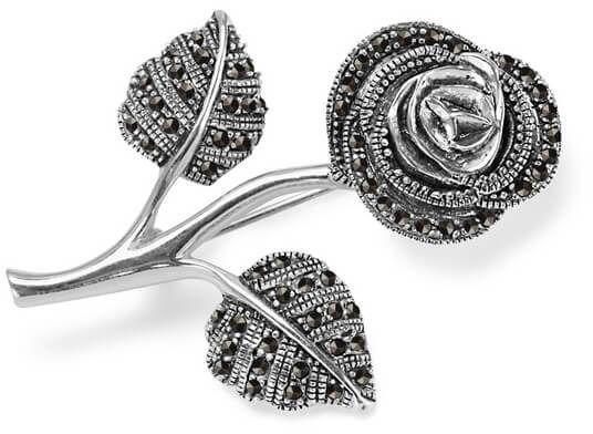 Staviori broszka róża markazyty. srebro 0,925. długość 43 mm.