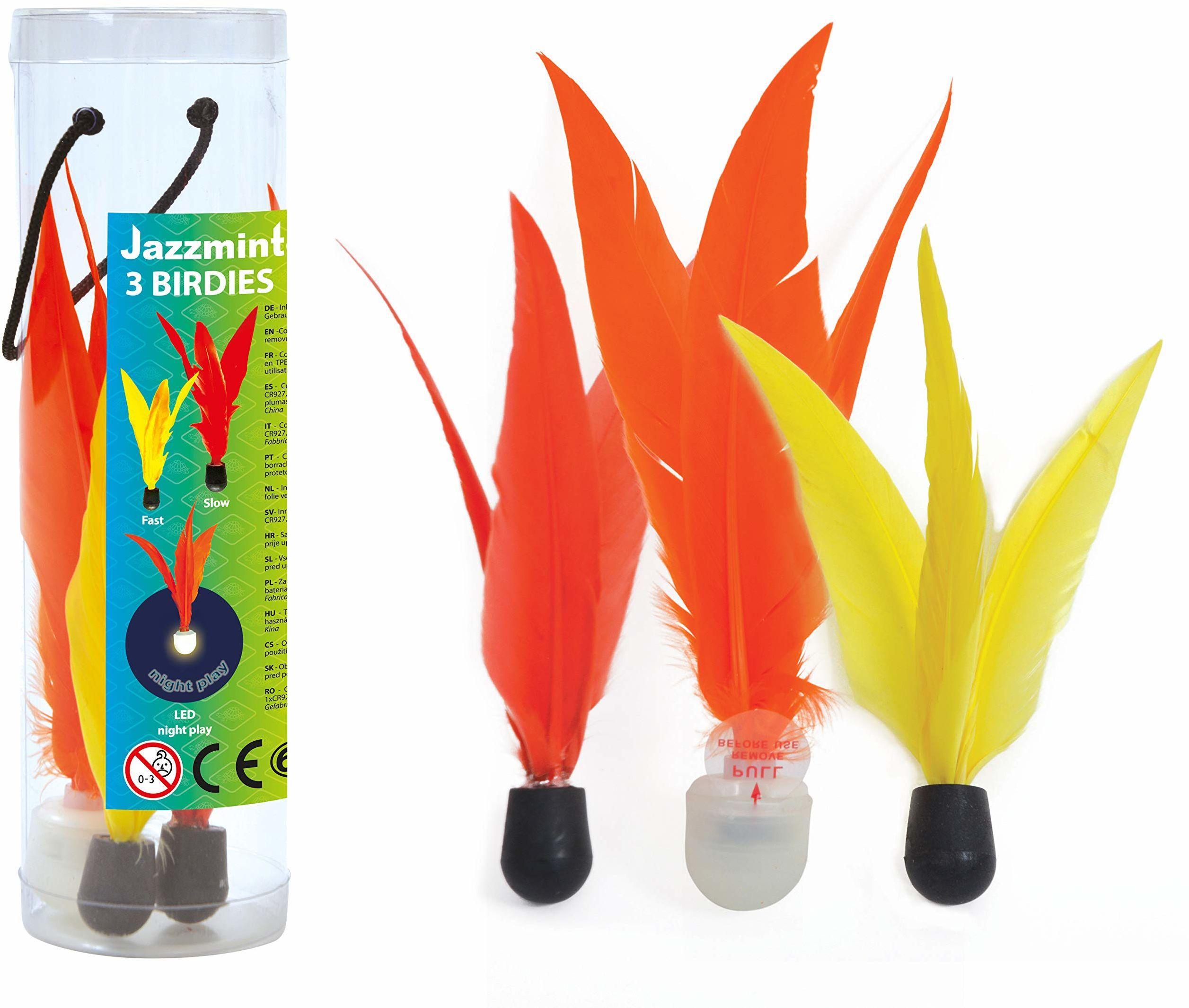 Schildkröt Funsports 3 zapasowe piłeczki wraz z piłką LED, 3 sztuki w opakowaniu, jaazzminton Birdies, wielokolorowe,